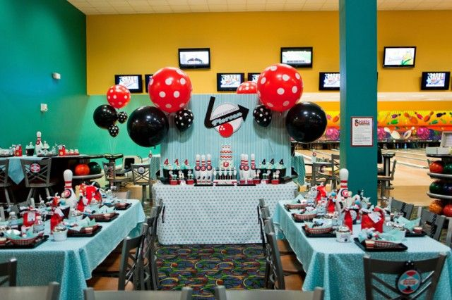 Pierson S Retro Bowling Party Anders Ruff Custom Designs Llc Bowling Birthday Party Bowling Party Birthday Party Tables