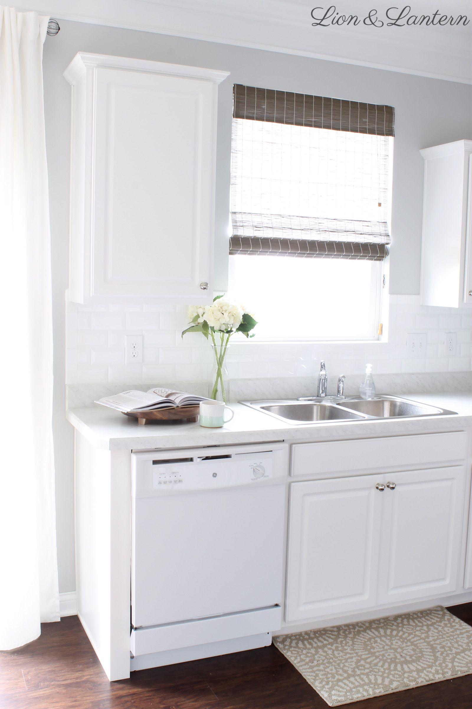 Builder Grade Kitchen Update at LionAndLantern.com   white subway ...