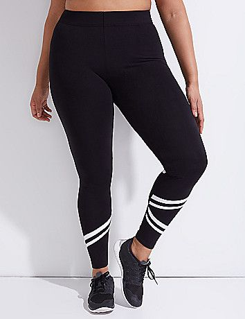 Signature Stretch Active Legging with Racer Stripes | Black