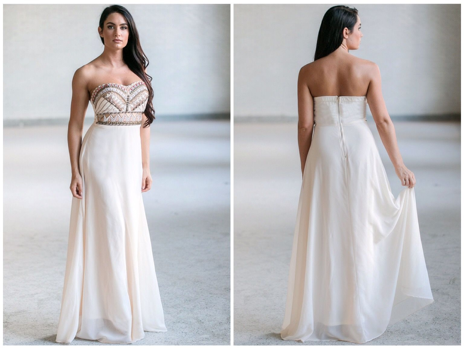 This cream maxi dress has a beaded design at the bust ss