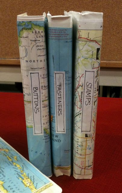 Discarded VHS Tapes Boxes Made Into Organizational Boxes. Using Old Atlas  Or Maps For Covers Inserts.