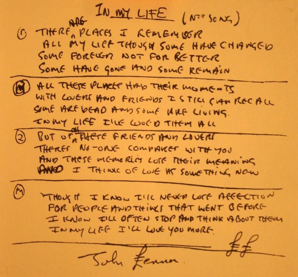 "Original John Lennon's Hand Written Lyrics For ""In My Life"