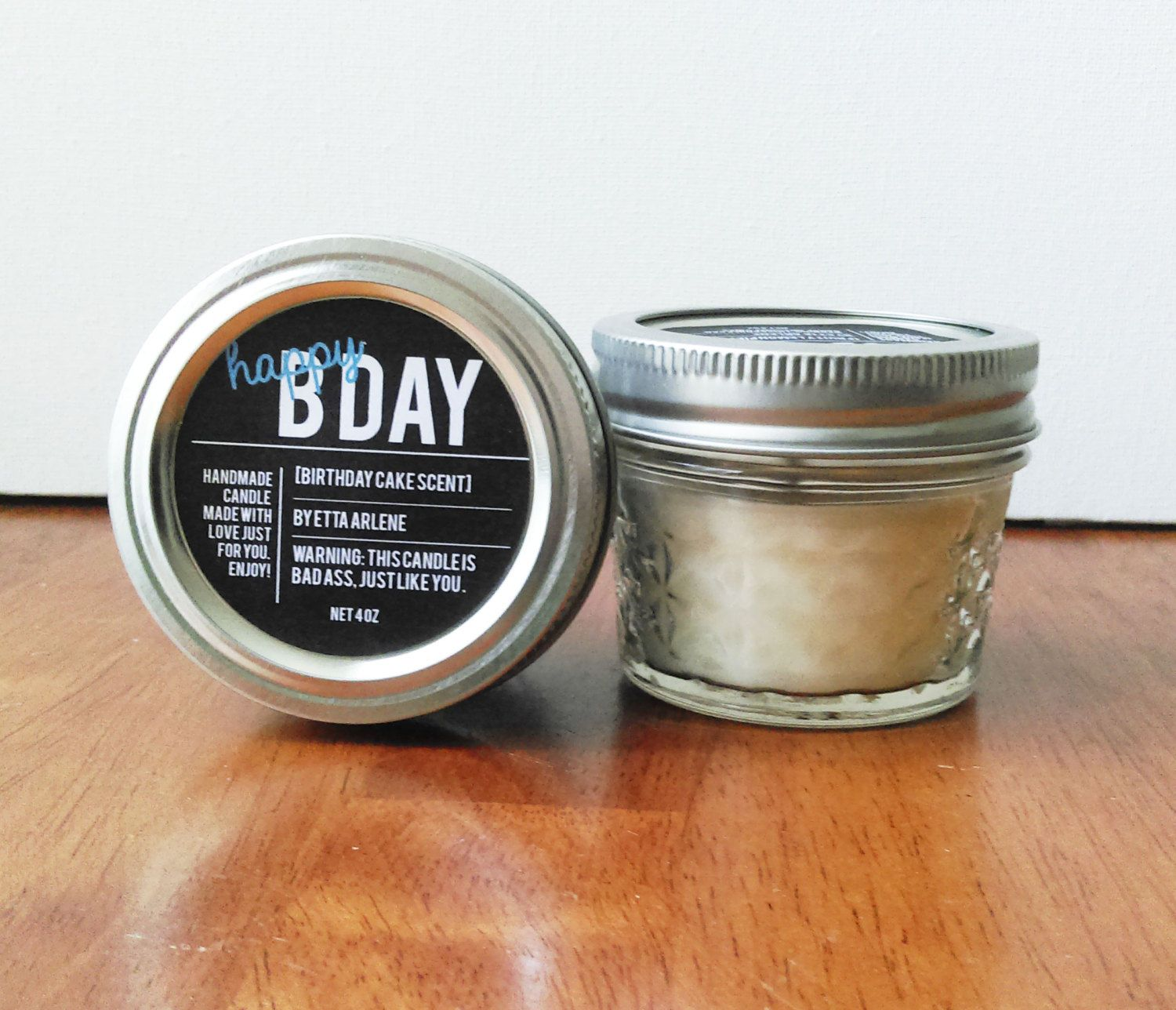 Happy Bday Candle Scented Soy Candle Handmade Birthday Gift
