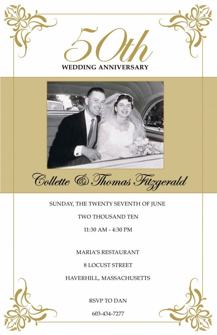 Wedding Card. Golden 50th Wedding Anniversary Invitation Card ...