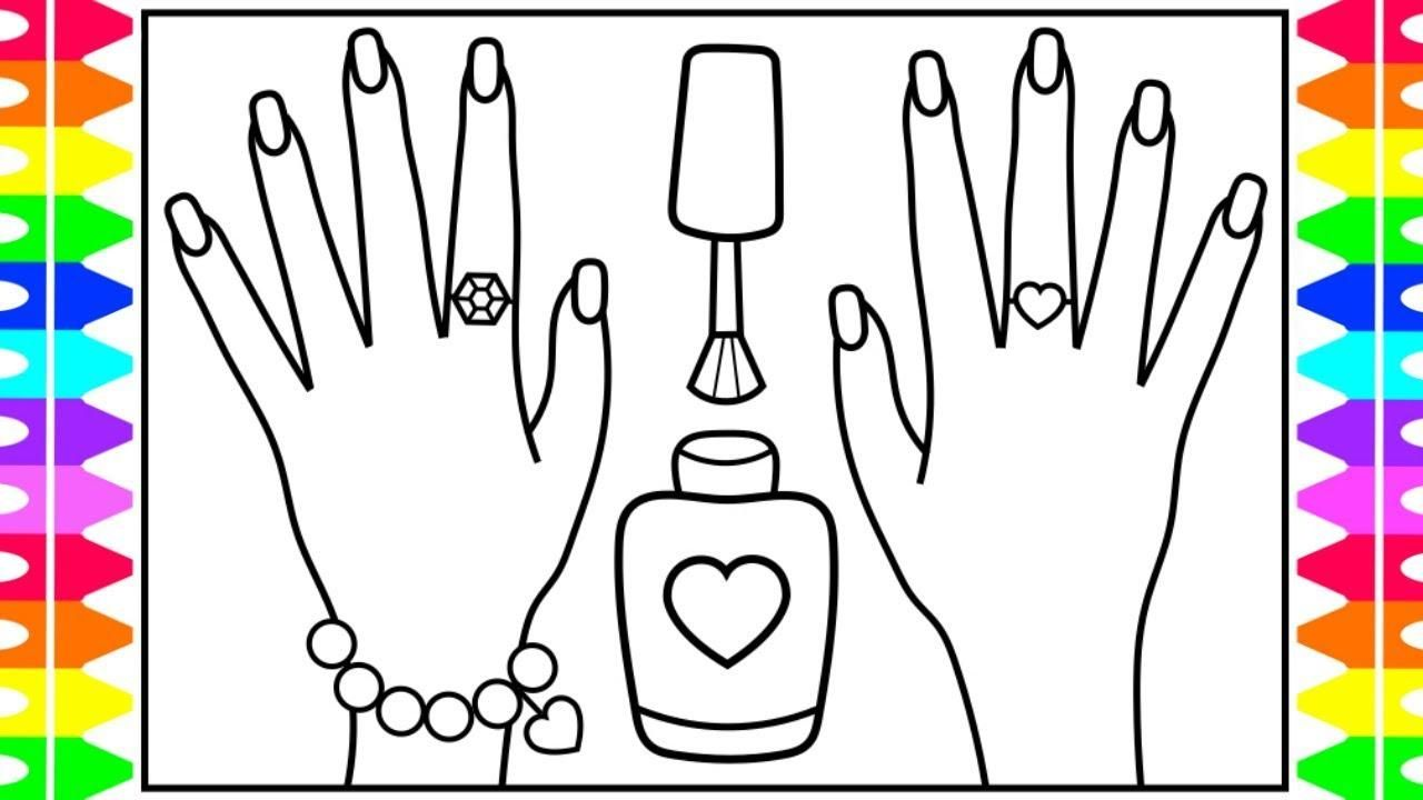 Nail Polish Coloring Pages Printable Coloring Nails For Kids