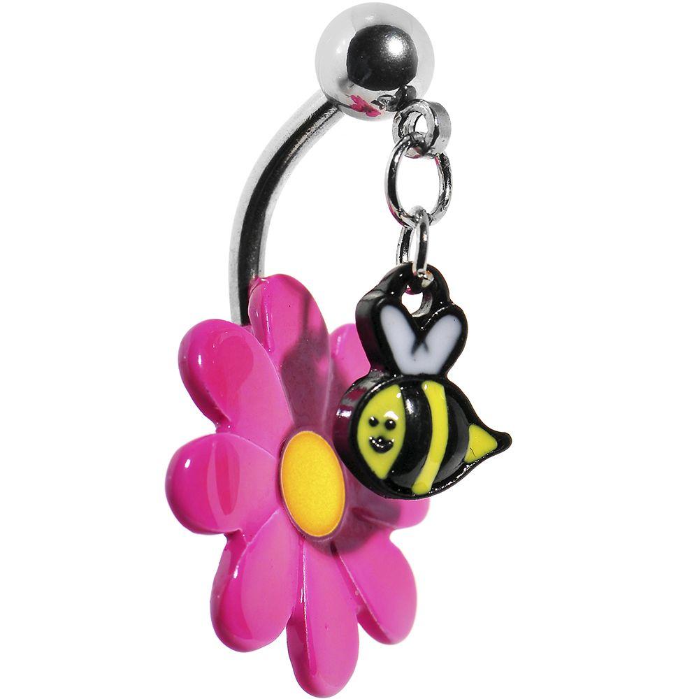 1 개 스틸 핑크 매달려 꿀벌 꽃 배꼽 바 배꼽 반지 바디 배꼽 피어싱 반지 여름 보석
