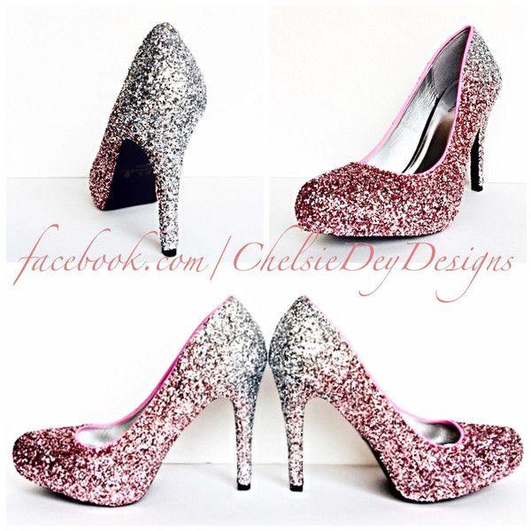 Glitter High Heels Silver Pink Pumps Light Pink Silver Ombre Platform...  ( 105 727708d9a