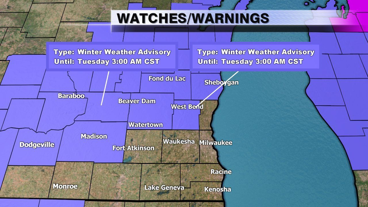 Winter weather advisory for 4 counties north of metro area