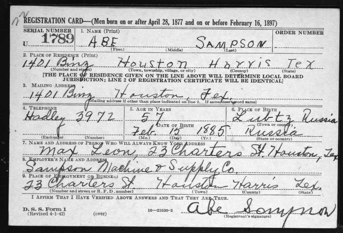 Abe Sampson United States World War Ii Draft Registration Cards