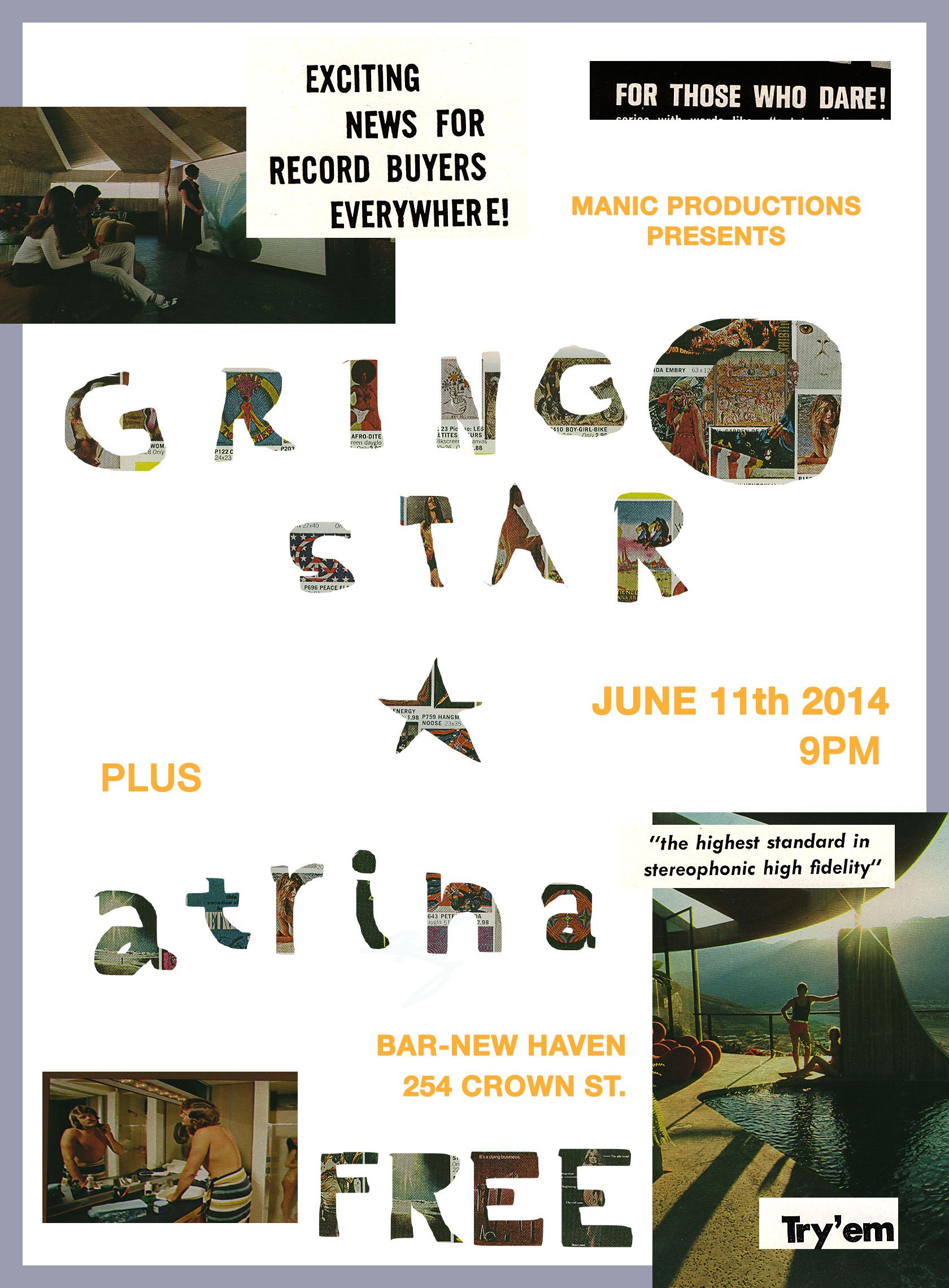 Flyer for ATRINA/ Gringo Star show at BAR 2014