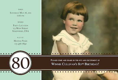 Picture Invitation for 80th Party 80th birthday invitations 80th birthday party 60th