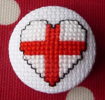 English Flag Heart Cross Stitch Button by HollysHobbies for $5.00