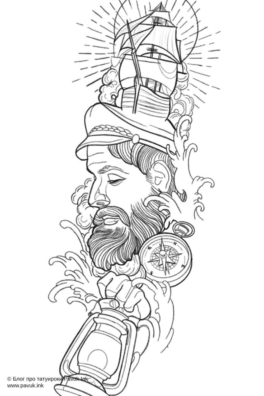 Эскиз тату рукав моряк и корабль | Блог про татуировки pavuk.ink