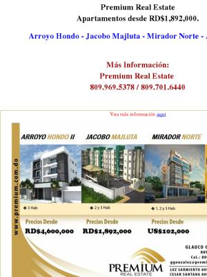 Premium Real Estate tiene los apartamentos para ti, desde 1.8. 809.701.6440