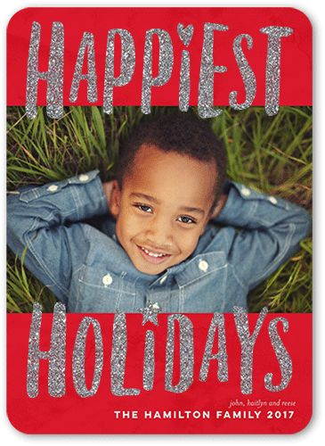 Illuminated Happiness Holiday Card, Rounded Corners, Red Glitter