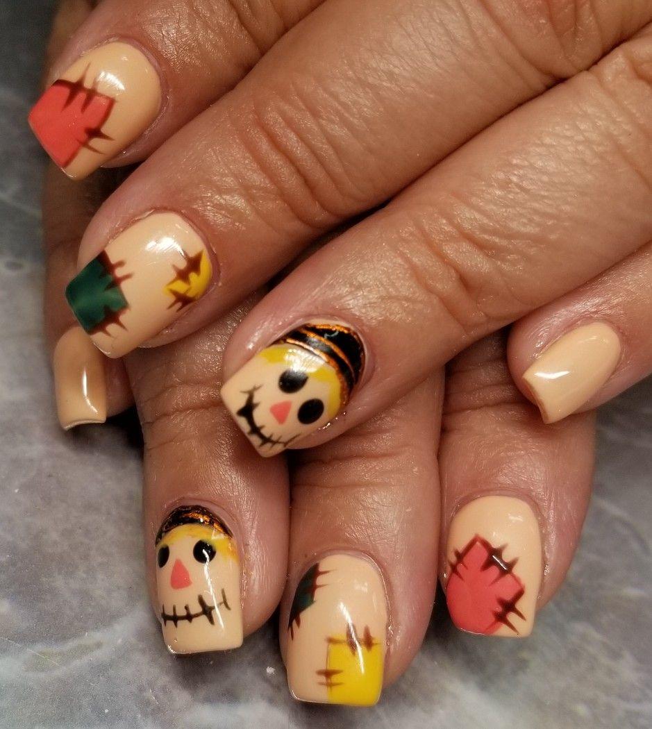 Halloween scarecrow nail art | Scarecrows nails, Halloween ...