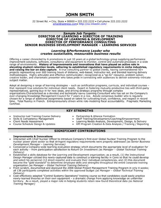 Executive Resumes Templates A Resume Template For A Director Of Learningyou Can Download It