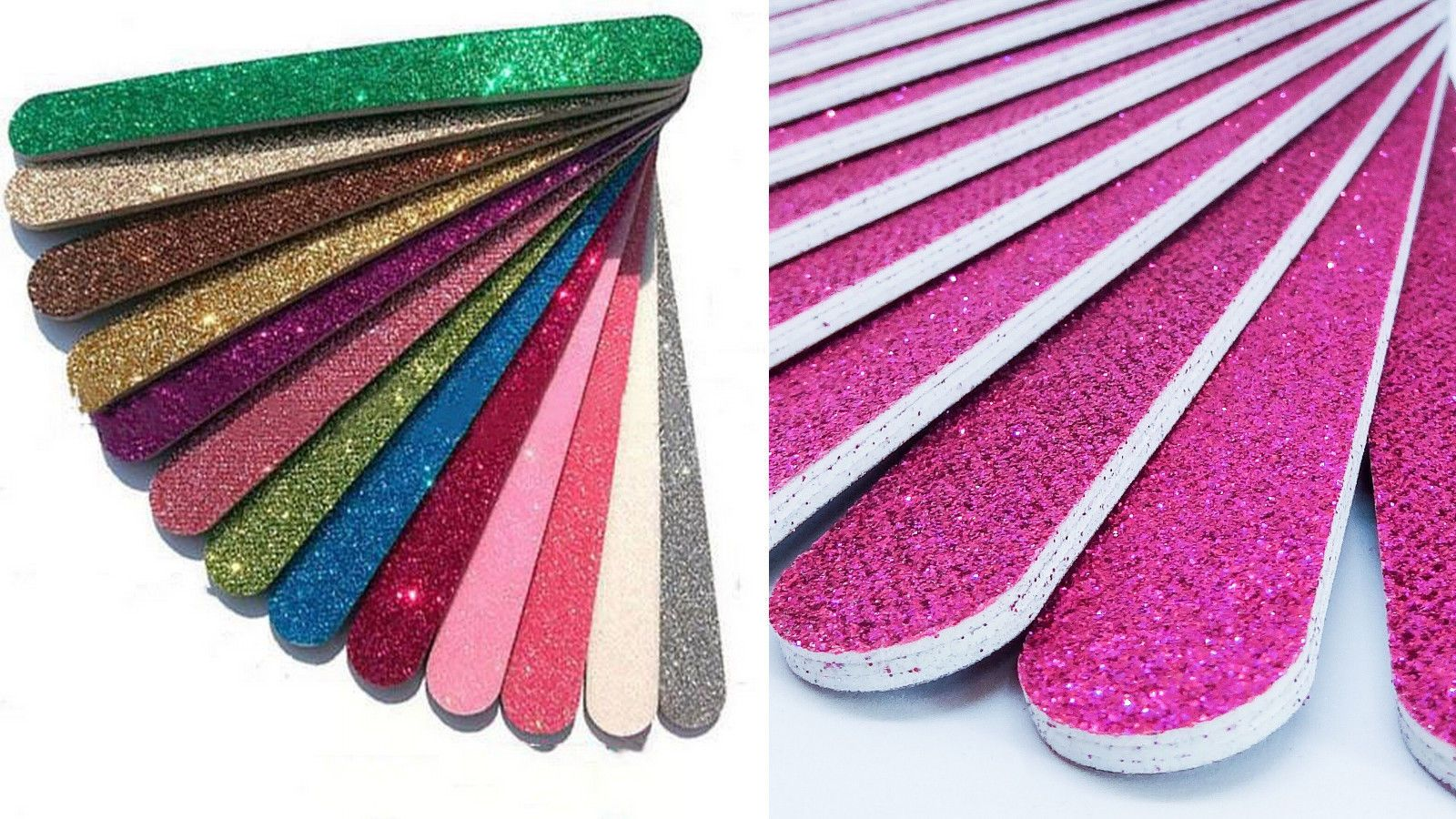 NEW PURPLE SPARKLY GLITTER EMERY BOARD NAIL FILE BUFFER set of 5 ...