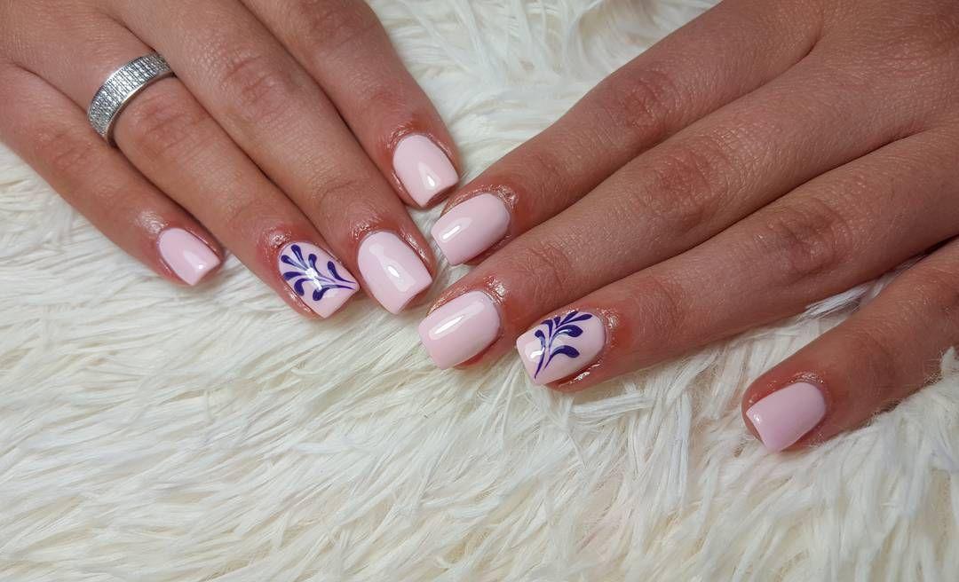 Almond nude pink gel nails with gems! Simple n elegant