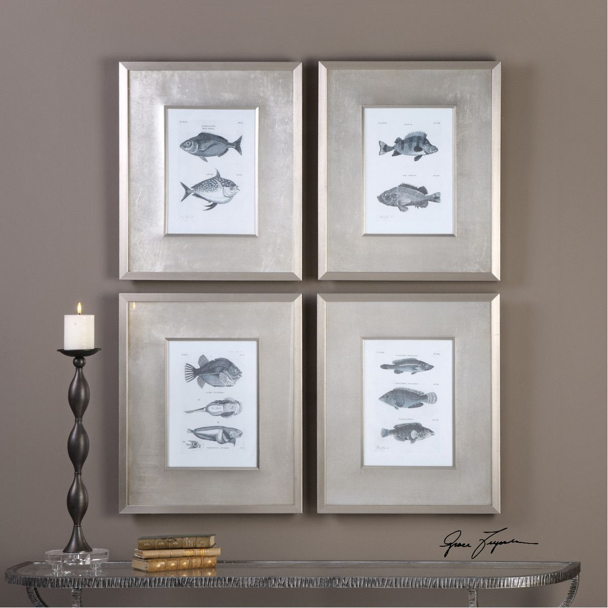 Uttermost blue fish framed prints set of products pinterest