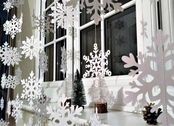 White Christmas snowflake Garland Christmas Decorations Xmas - christmas home decor