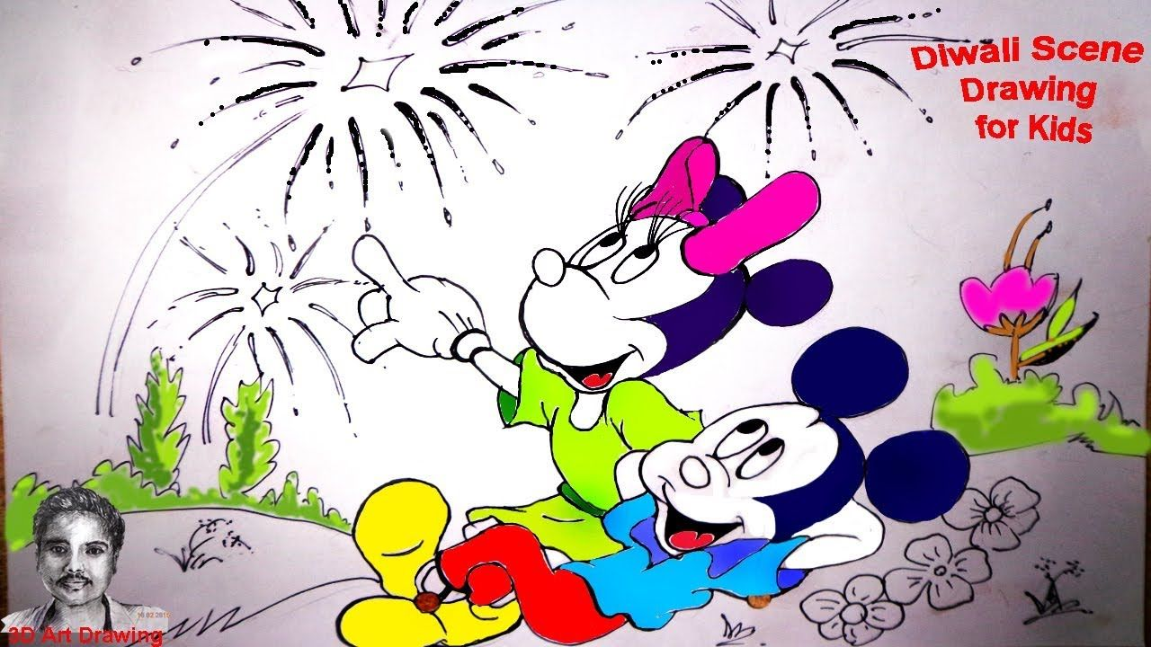 Diwali Scene Drawing for Kids Mickey Mouse Draw