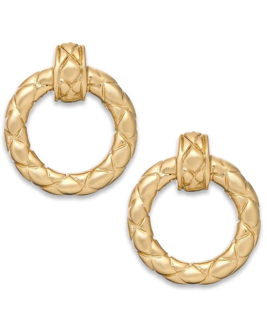 Giani Bernini Quilted Circle Drop Earrings in 24k Gold over Sterling Silver