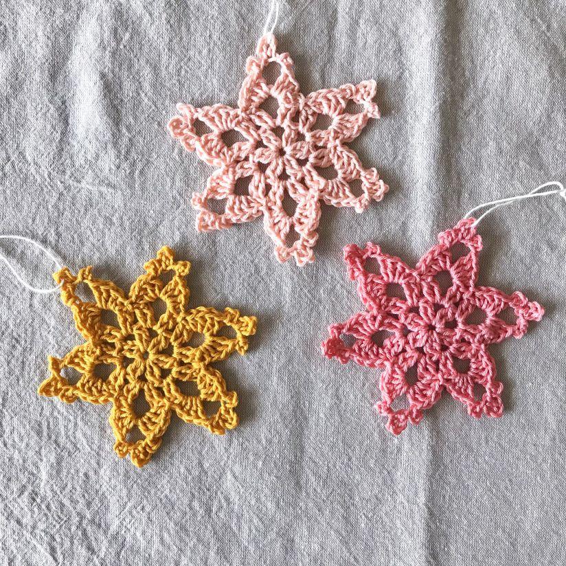 Starflower Snowflake Pattern Tutorial Crochet Ornaments Free Pattern Crochet Christmas Snowflakes Crochet Snowflake Pattern