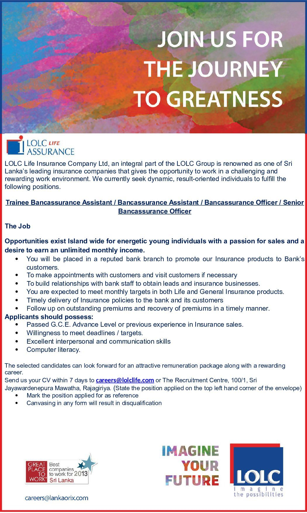Trainee Bancassurance Assistant Bancassurance Assistant