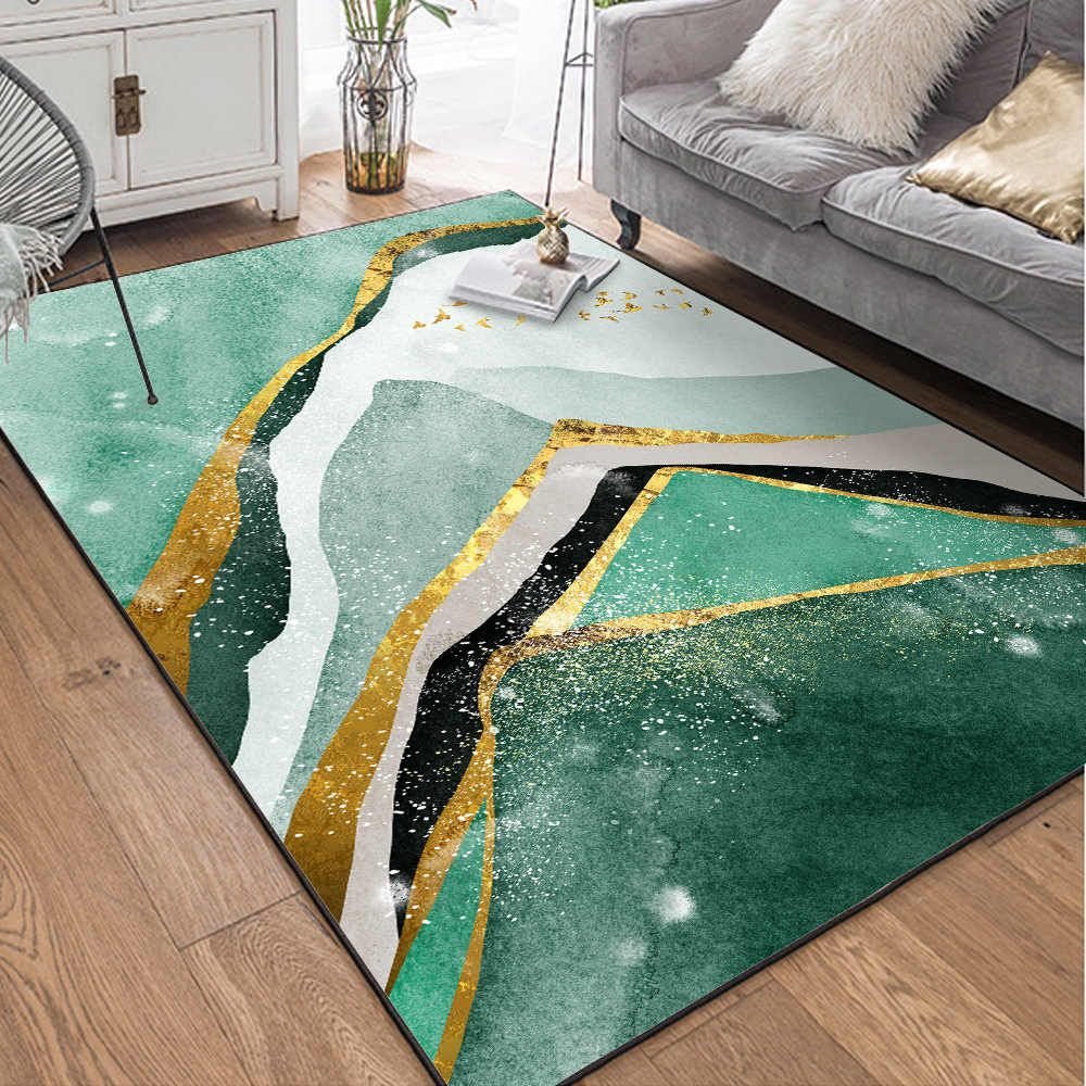 Modern Carpets Abstract Green Golden Mountain Pattern Rugs For Home Living Room Non Slip Bedside Mats 10 Kinds Sizes Alfombra Carpet Aliexpress In 2020 Green Rug Living Room Patterned Carpet Geometric Area Rug #patterned #carpet #living #room