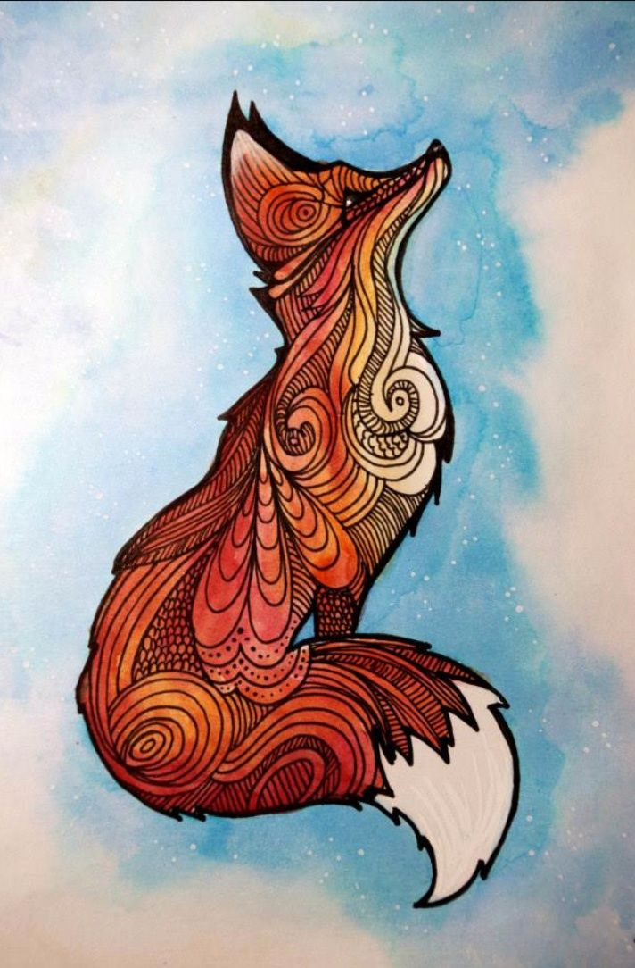 Pin By Cupcake Cakepop On Foxes Fox Art Zentangle Art Animal Art