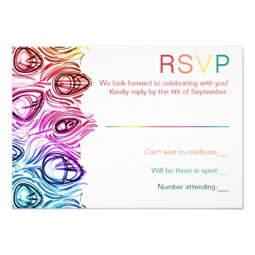Rainbow Paint Heart Lesbian Wedding Bridesmaid Invitation RSVP