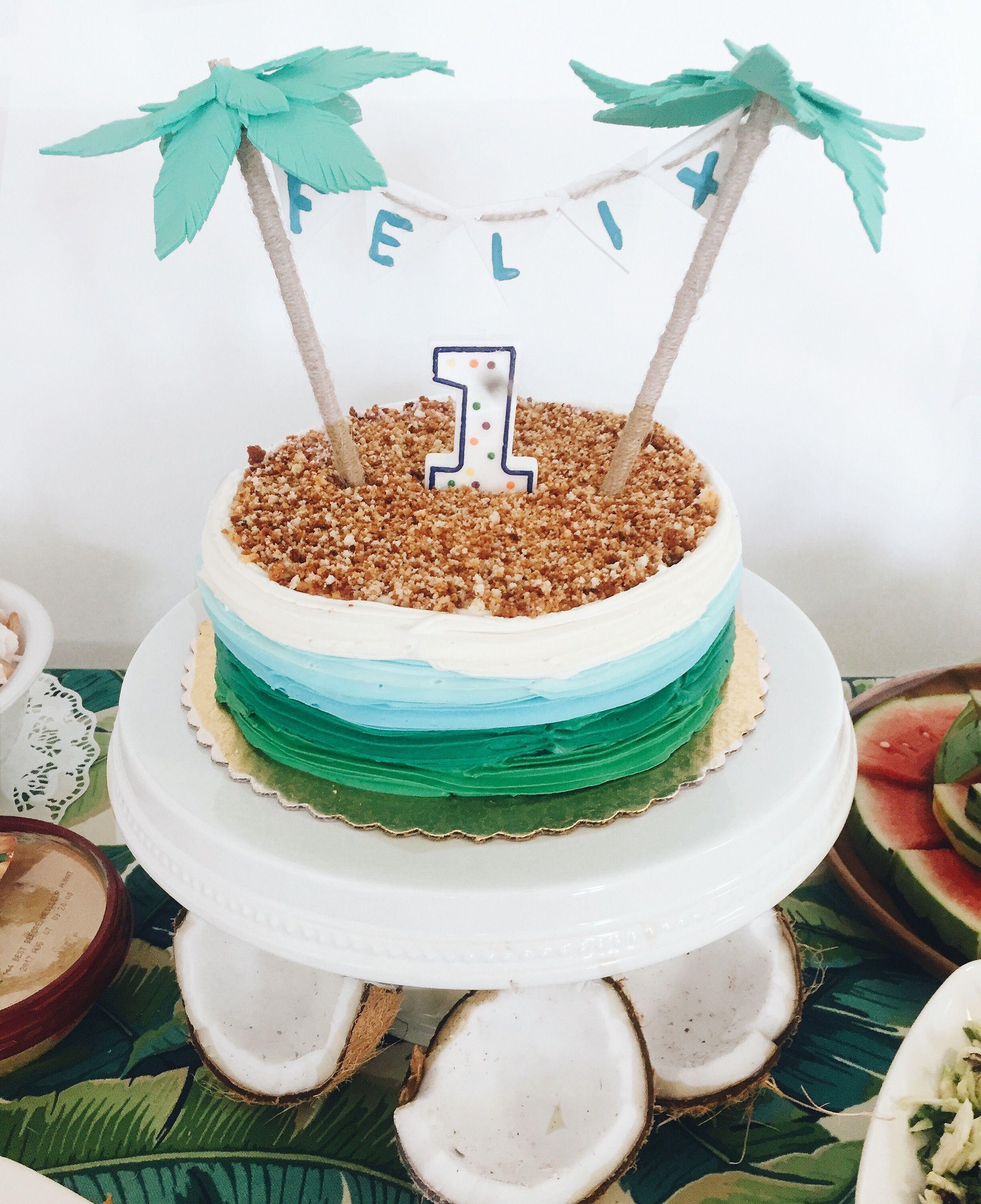 Pleasant Baby Boy Is One Cake Smash Palm Tree Leaf Coconut Tropical Luau Birthday Cards Printable Trancafe Filternl