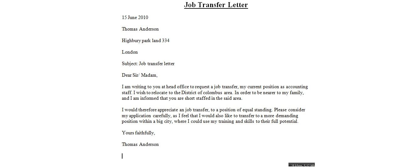 Job Transfer Letter Sample Free Write Intent For Cover Templates