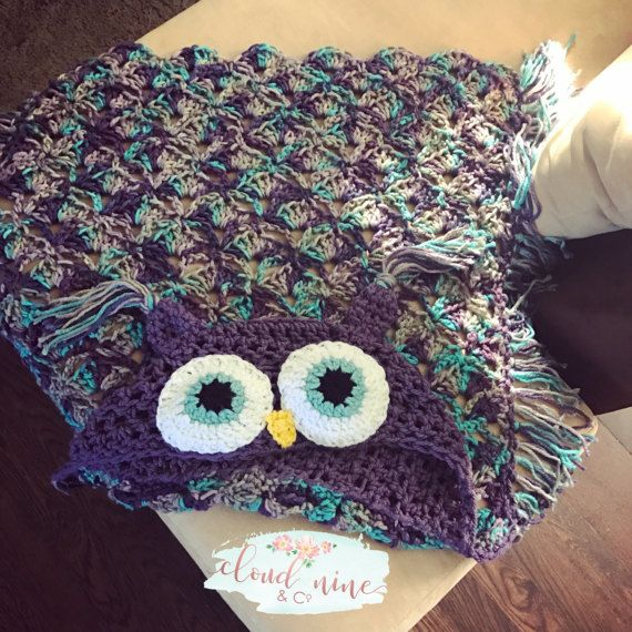 Owl Blanket, Hooded Owl Blanket, Crochet Owl Blanket, crochet owl ...
