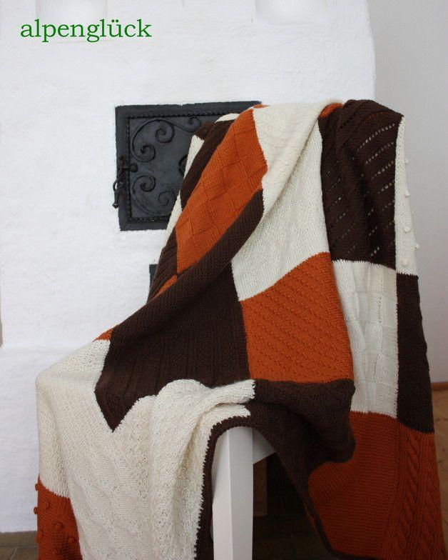 Decke gestrickt Patchwork ♥ Tagesdecke ♥ Wolldecke | DIY ...