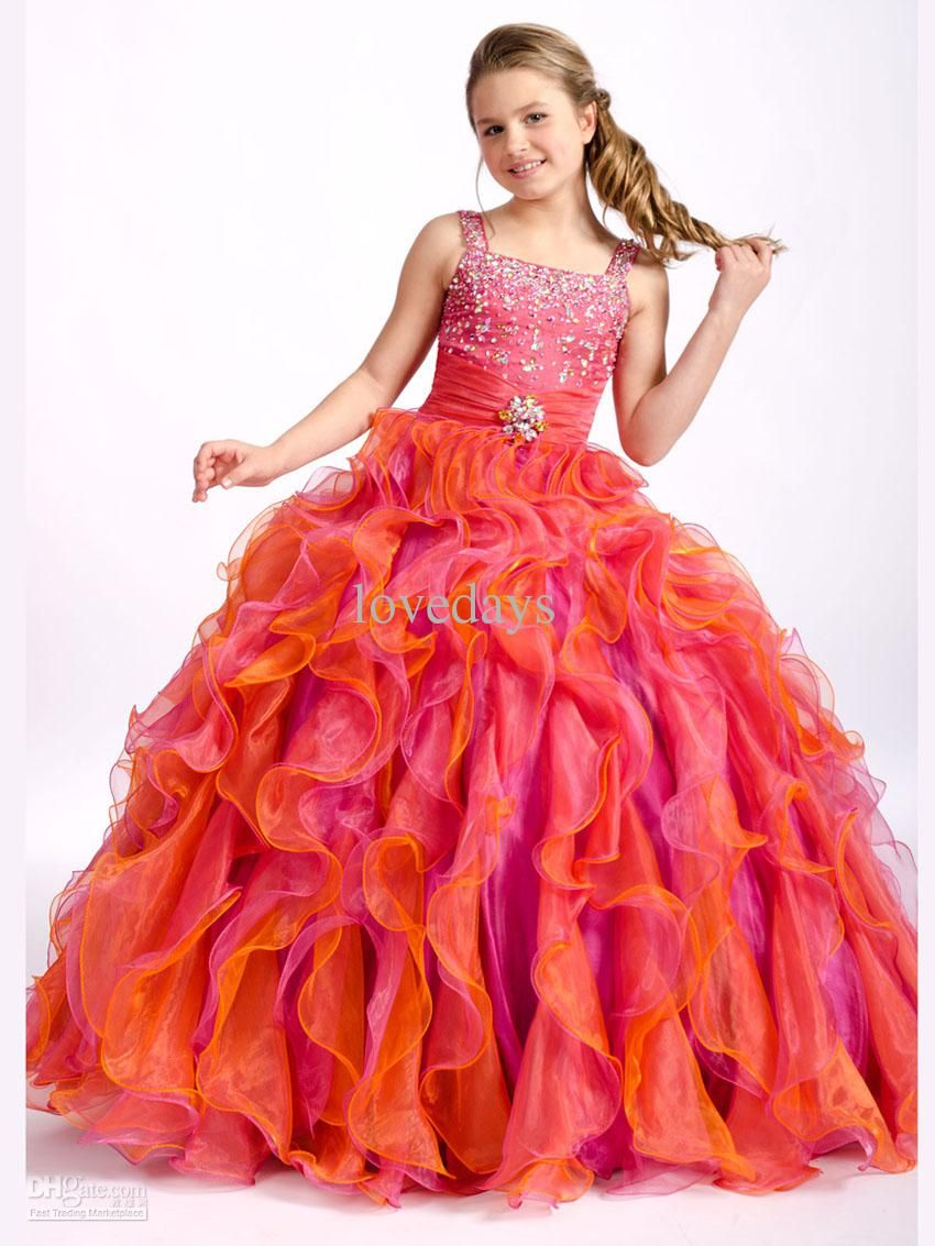 new orange lmulticolour beaded spaghtti ball gowns kids girl