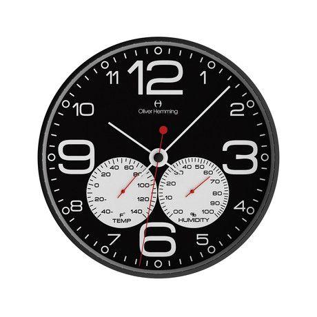 12 Black Steel Weather Station Wall Clock W300b51bwftw Clock Wall Clock Barometer