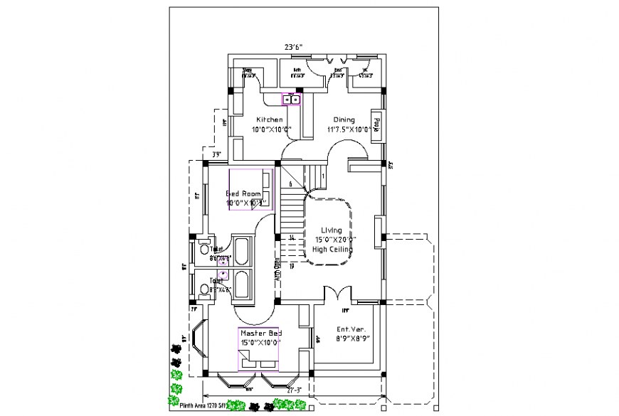 Electrical And Plumbing Layout Plan Of 2 Bhk House Project Cadbull In 2020 Plan Design How To Plan Design