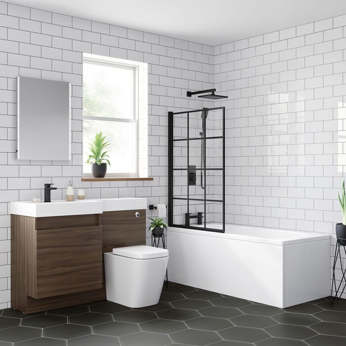 Shoji Crittall Style Bath Screen 800mm Black Bath Screen Soak Com In 2020 Bath Screens Shower Enclosure Black Bath