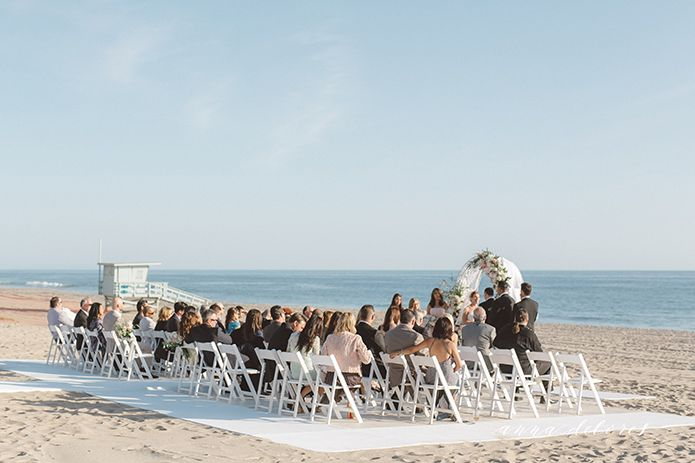 Malibu Beach Wedding Ceremony Set Up Small Elopement Style In Malubi At Sunset Restaurant