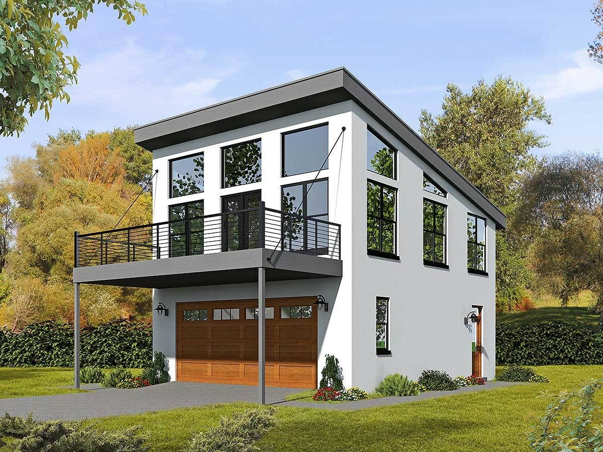 Modern carriage house plan with sun de 68461vr 01