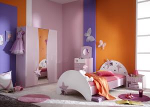 Meisjeskamer met sterretjes en elfjes in lila (incl. 3 deurs kast)