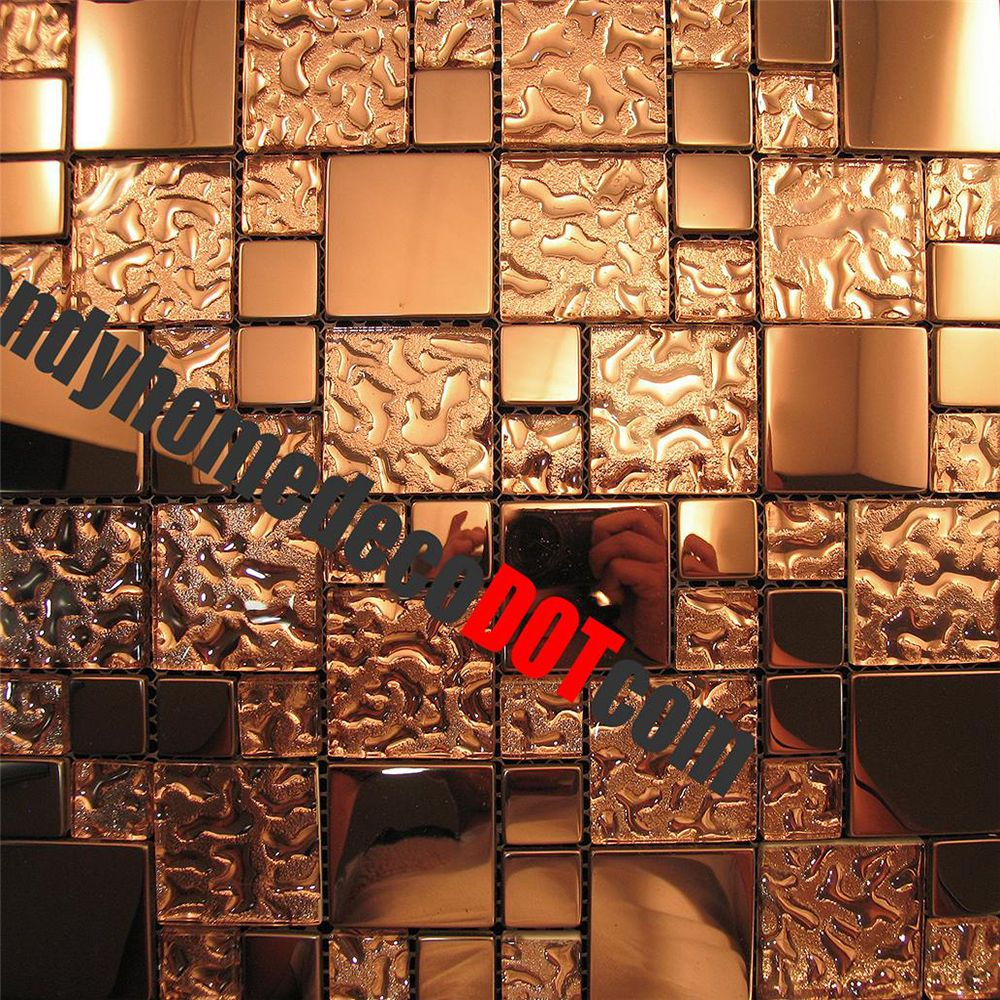 Wholesale vitreous mosaic tile crystal glass backsplash kitchen penny - Sample Copper Metal Pattern Textured Glass Mosaic Tile For Kitchen Backsplash