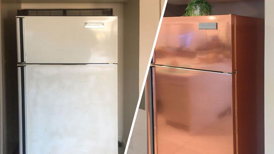 Cheap Diy Kmart Hack Gives A Garage Sale Fridge A New Stunning Look Refrigerator Wraps Refrigerator Makeover Rose Gold Kitchen
