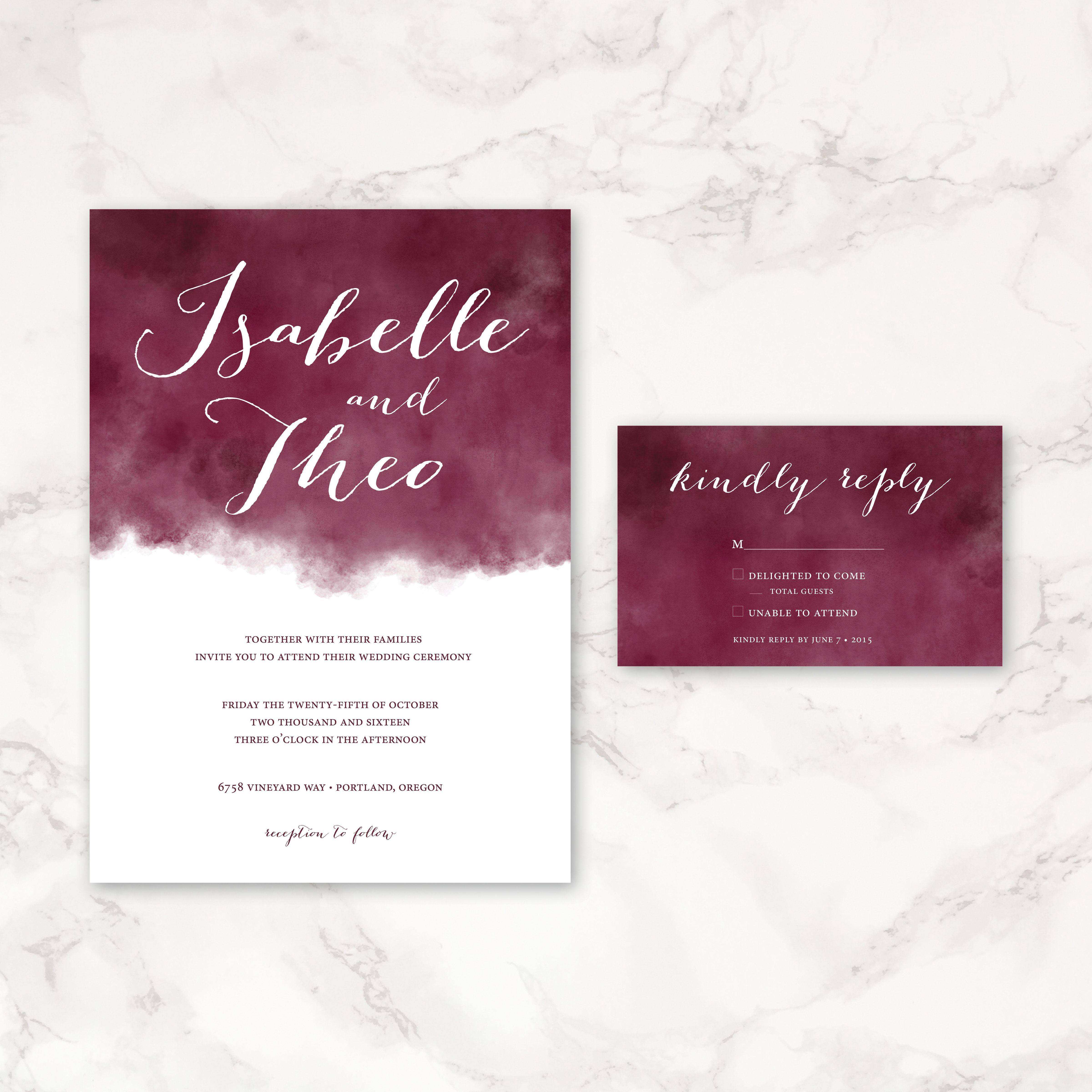 maroon watercolor wedding invitation printable wedding With maroon watercolor wedding invitations