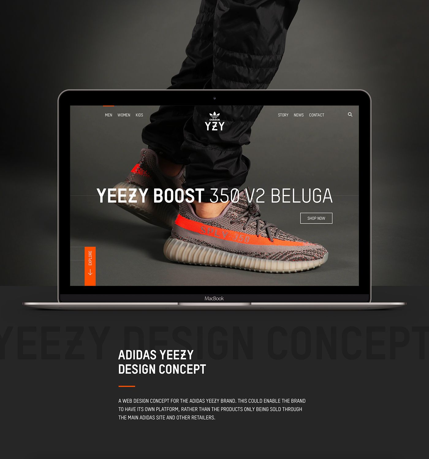 finest selection 16938 c8e45 A design concept for the website of the Adidas Yeezy brand ...