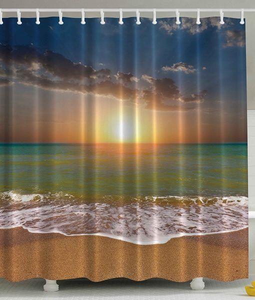 Ocean Beach Sunrise Shower Curtain   Beach Shower Curtains ...