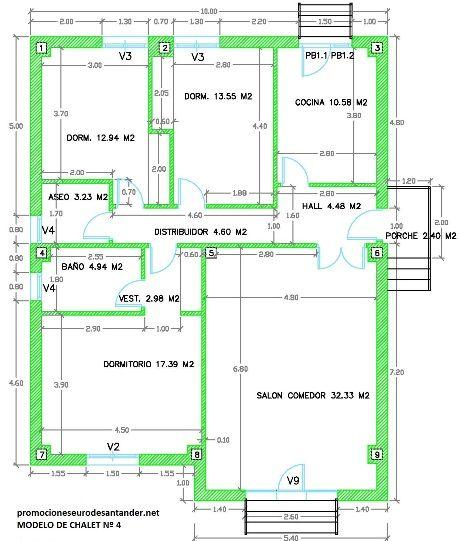 Plano de chalet a 4 dise o de casas pinterest for Precio construir casa 120 metros