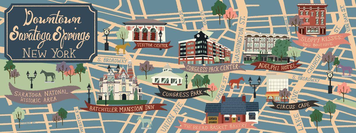 Very cool map of downtown saratoga springs new york for New hotels in saratoga springs ny